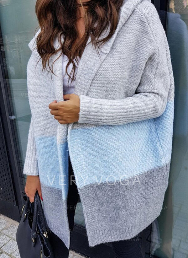 Color Block Hooded Casual Long Cardigan