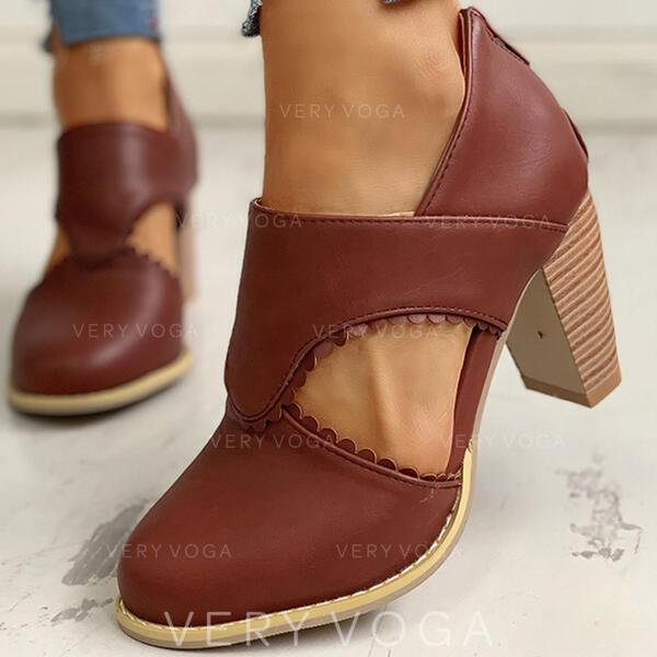 Mulheres PU Salto robusto Bombas com Aplicação de renda sapatos