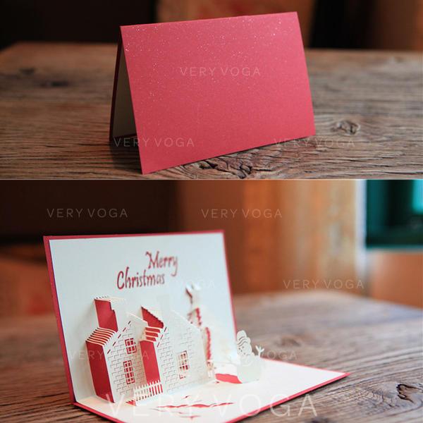 god jul 3D Med konvolutt Hus Kort Papir Gratulasjonskort Postkort Invitasjoner