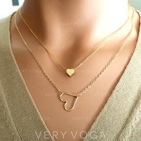 Corazón Romántico Aleación con Corazón Sistemas de la joyería Collares 2 piezas