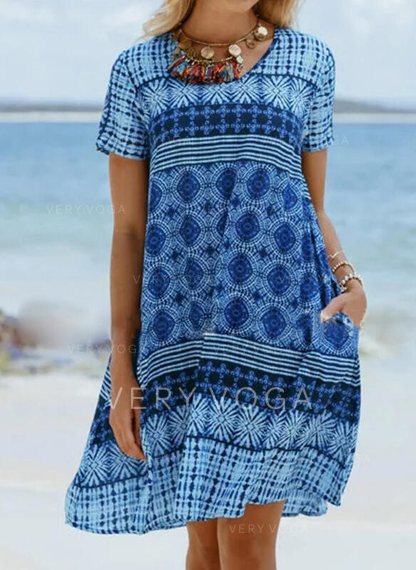Print Short Sleeves Shift Knee Length Casual/Boho/Vacation Dresses