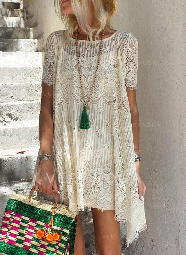 Spitze/Einfarbig Kurze Ärmel Shift Über dem Knie Urlaub Tunika Kleider