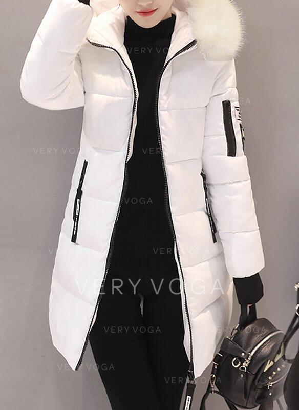 Poliester Długie rękawy Jednolity kolor Długie Płaszcze