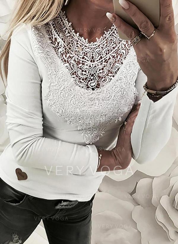Μπαλώματα Στρογγυλός Λαιμός Μακρυμάνικο Καθημερινό Блузки