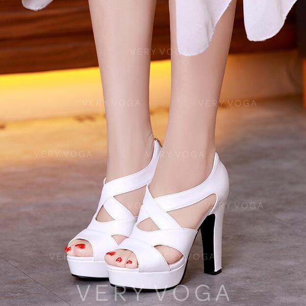 Naisten Keinonahasta Piikkikorko Sandaalit Platform Peep toe kengät
