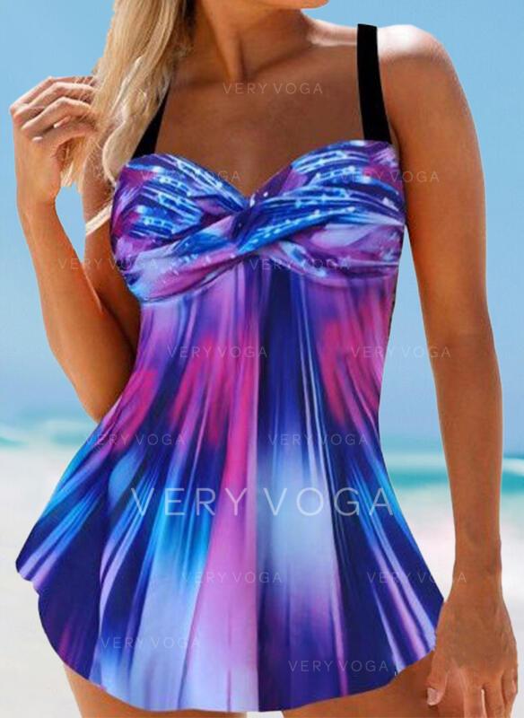 Junção de cores Gradiente Cinta Casual Incrível Vestidos de banho Maiôs