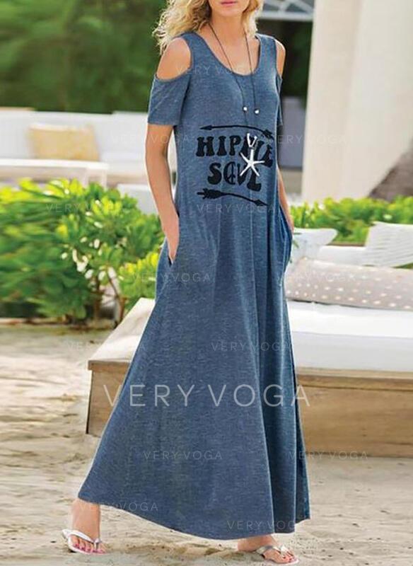 Print Short Sleeves/Cold Shoulder Sleeve Shift Casual Maxi Dresses
