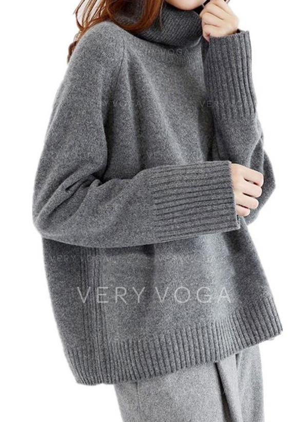 Einfarbig Rollkragen Pullover