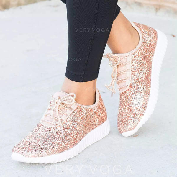 Women's Cloth Casual Outdoor With Sequin Lace-up shoes