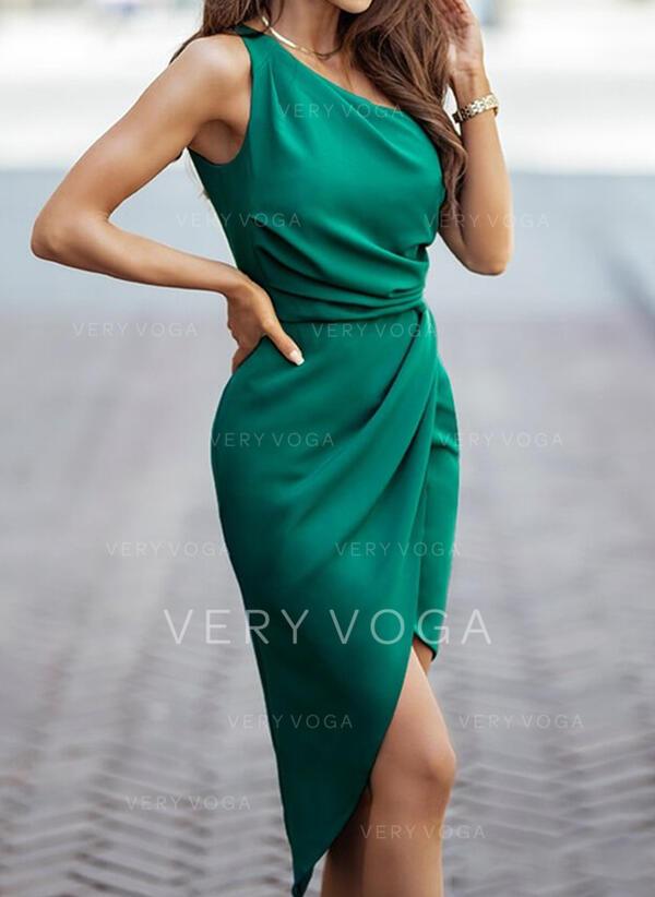 Sólido Sin mangas Cubierta Hasta la Rodilla Elegante Vestidos
