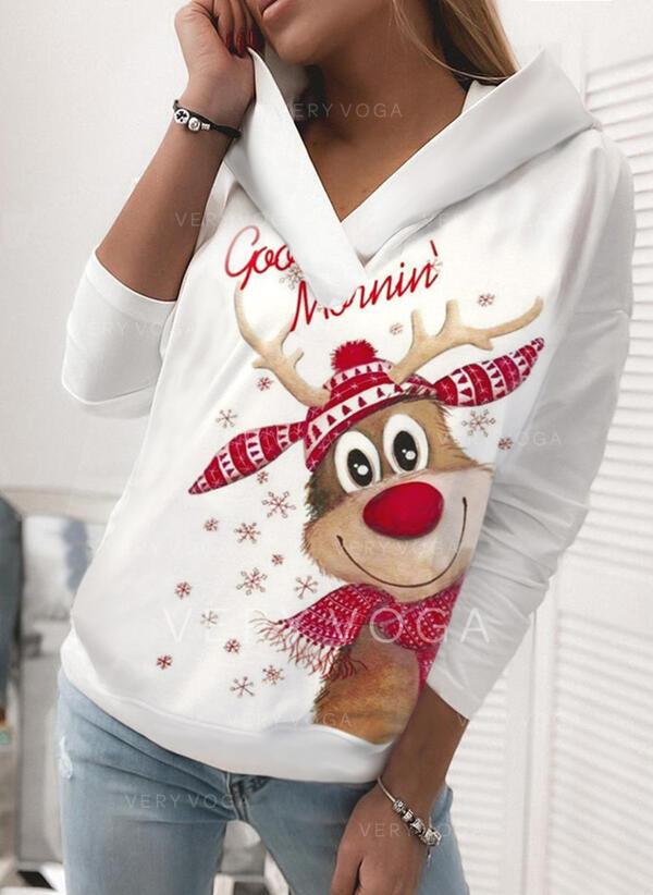 Stampato Animale Maniche lunghe Felpa natalizia