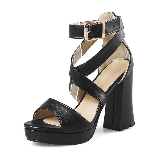 Femmes Similicuir Talon bottier Sandales Escarpins Plateforme À bout ouvert chaussures