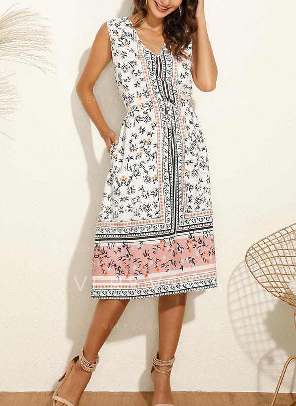 Print Sleeveless A-line Casual/Vacation Midi Dresses