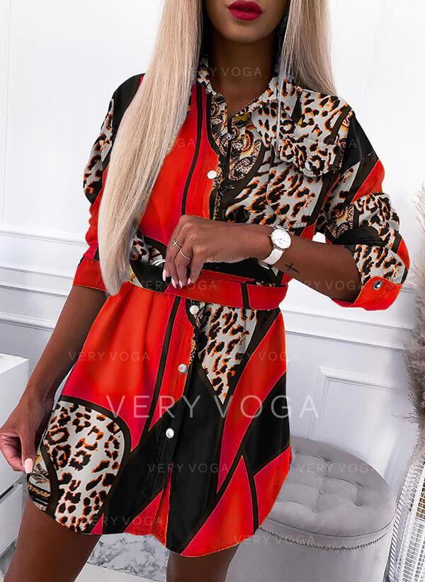 Print/luipaard Lange Mouwen Koker Boven de knie Casual Shirt Jurken