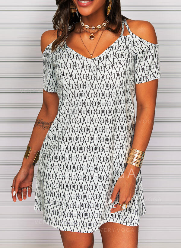 Print/Geometric Short Sleeves Shift Above Knee Casual/Vacation Dresses