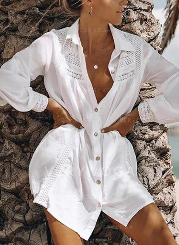 Solido Patchwork Pizzo Risvolto Maniche lunghe Bottone Casuale Maglieria Shirt and Blouses