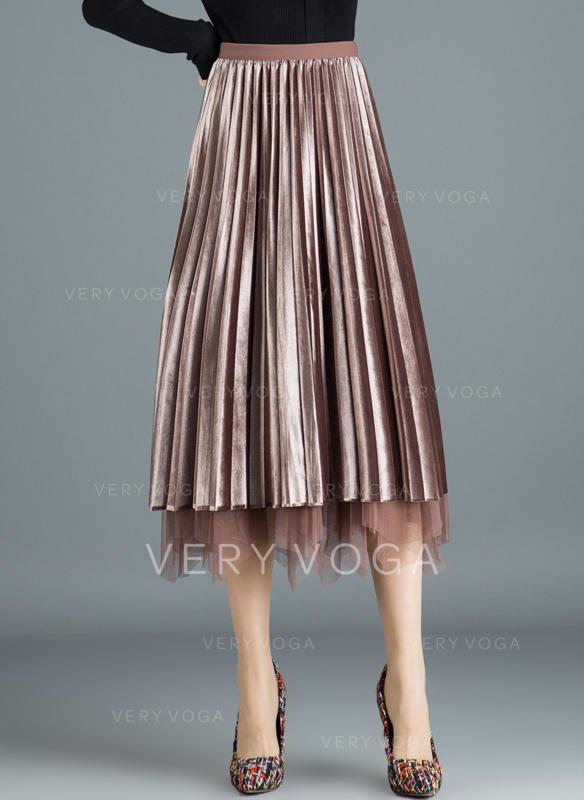 d045d6608eea Polyester Jednobarevný Do půl lýtek Skládané sukně (1005244496 ...