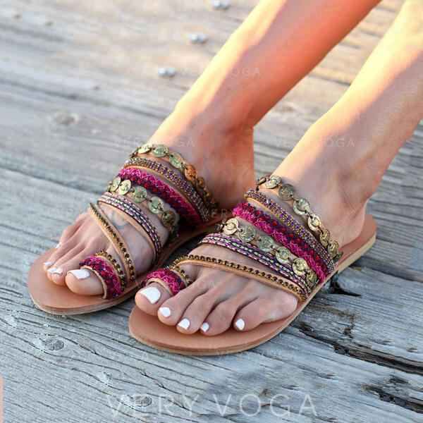 Mulheres PU Sem salto Peep toe Chinelos com Lantejoulas sapatos