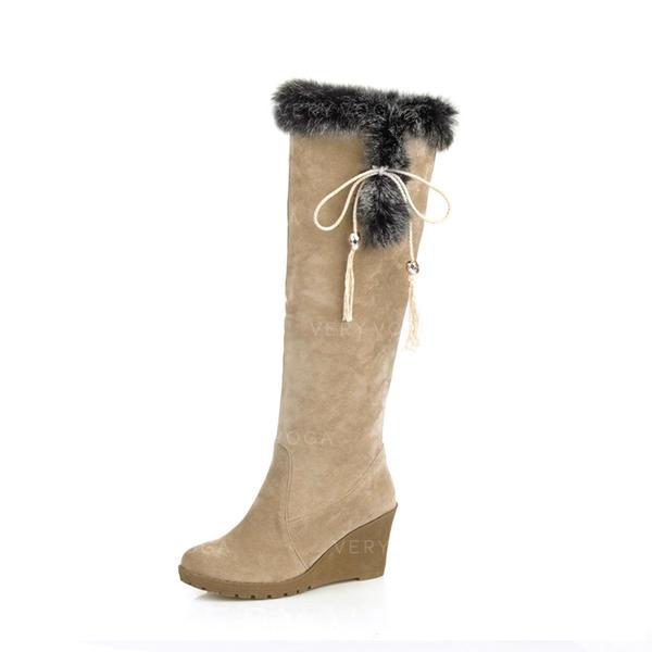 Frauen Veloursleder Keil Absatz Absatzschuhe Geschlossene Zehe Keile Stiefel Kniehocher Stiefel mit Zuschnüren Pelz Schuhe (116151009)