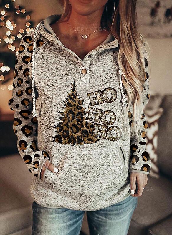 Print Leopard Sequins Figure Long Sleeves Christmas Sweatshirt
