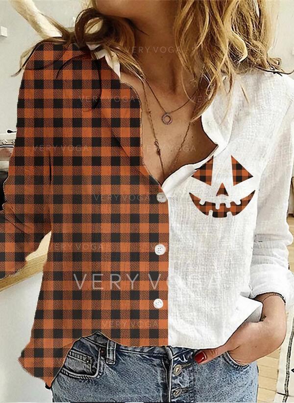 Drucken Revers Lange Ärmel Mit Knöpfen Freizeit Das Halloween Hemdblusen