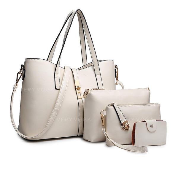 Modisch/Einfarbig PU Tragetaschen/Schultertaschen/Tasche Sets/Geldbörsen & Wristlet Taschen