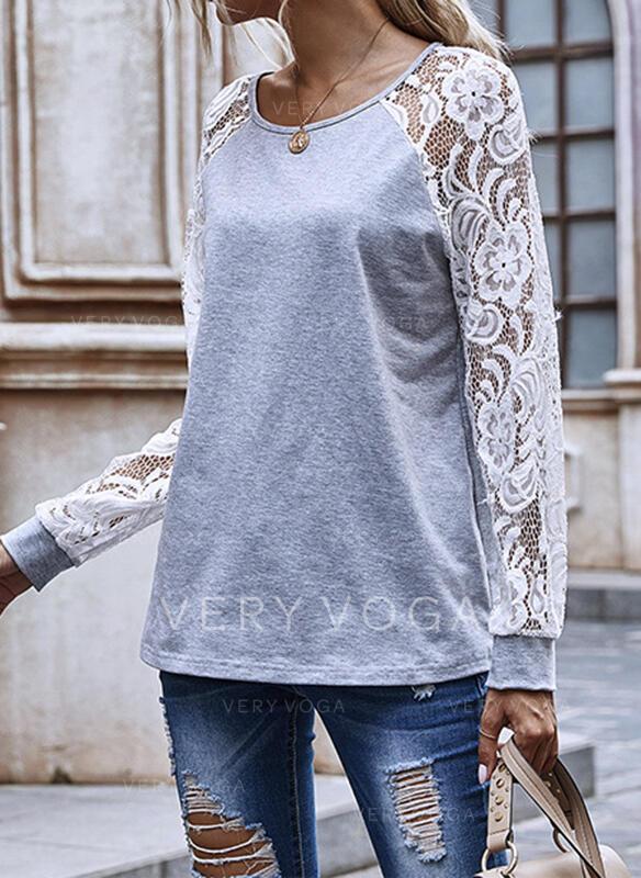 Dantel Solid Guler Rotund Mâneci Lungi Tişörtler