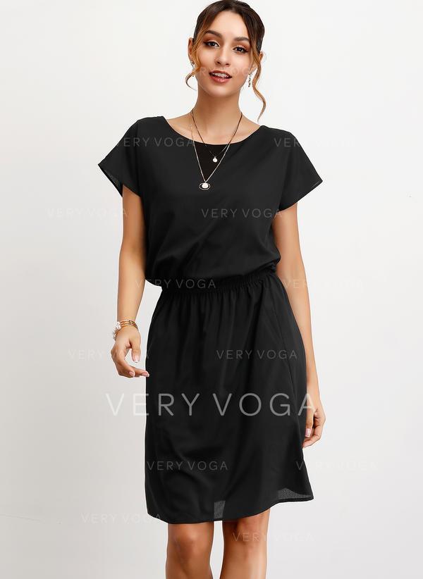 Solid Short Sleeves A-line Knee Length Little Black/Casual/Elegant Dresses