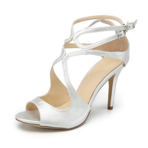 daf005a30dc52d Vrouwen PU Stiletto Heel Sandalen Pumps Peep Toe met Gesp schoenen ...
