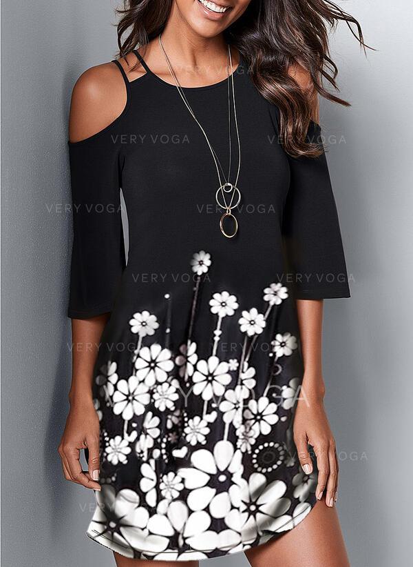 Impresión/Floral Top sin hombros Cubierta Sobre la Rodilla Casual Vestidos