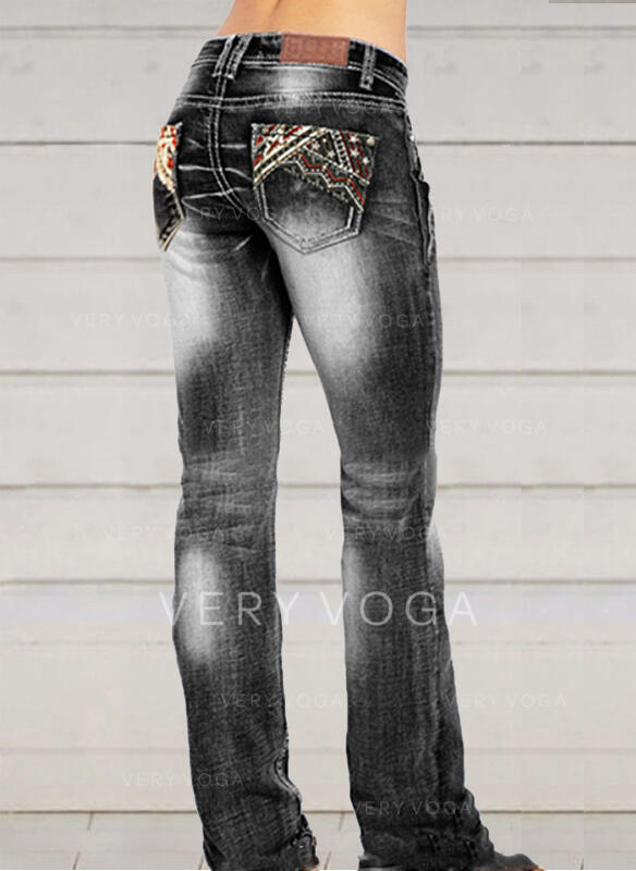 Embroidery Shirred Plus Size Elegant Sexy Denim & Jeans