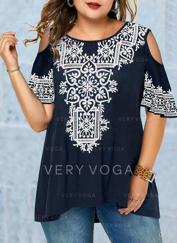 Lace Cold Shoulder Flare Sleeve 1/2 Sleeves Casual Plus Size T-shirts