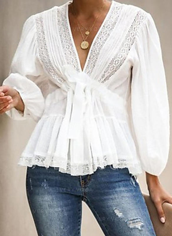 Solid Lace V-Neck Long Sleeves Casual Elegant Blouses (1003287341)