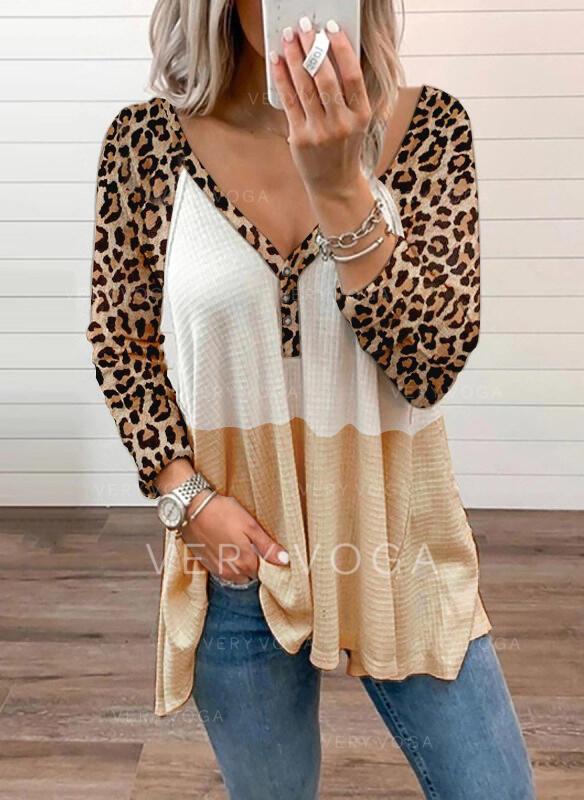 Renk Bloğu leopárd V yaka Uzun kollu Düğmesiz Yakalı Günlük Blúzok