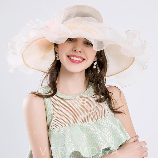 Ladies ' Classic/Håndlavet Kambriske/Organzastof med Silke Blomst Strand / Sun Hatte