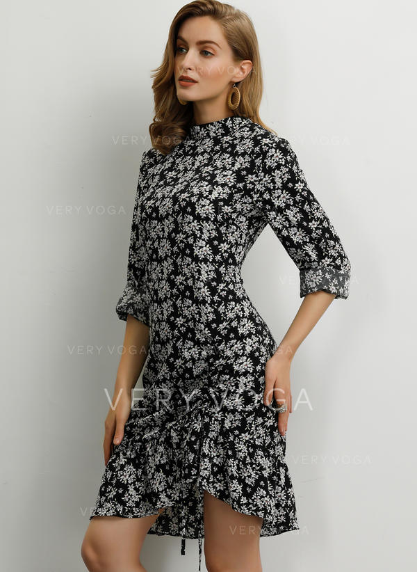 Print/Floral 1/2 Sleeves Sheath Knee Length Casual/Elegant Dresses