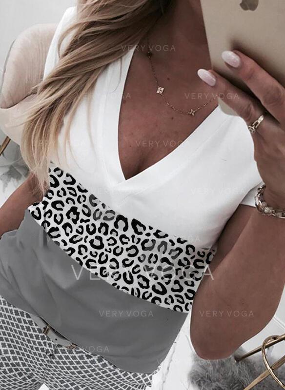 """Color Block Leopard Výstřih do """"V"""" Krátké rukávy Trička"""