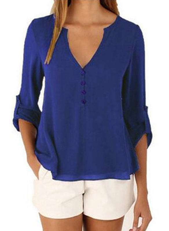 Chiffon V Neck Plain 3/4 Sleeves Casual Blouses