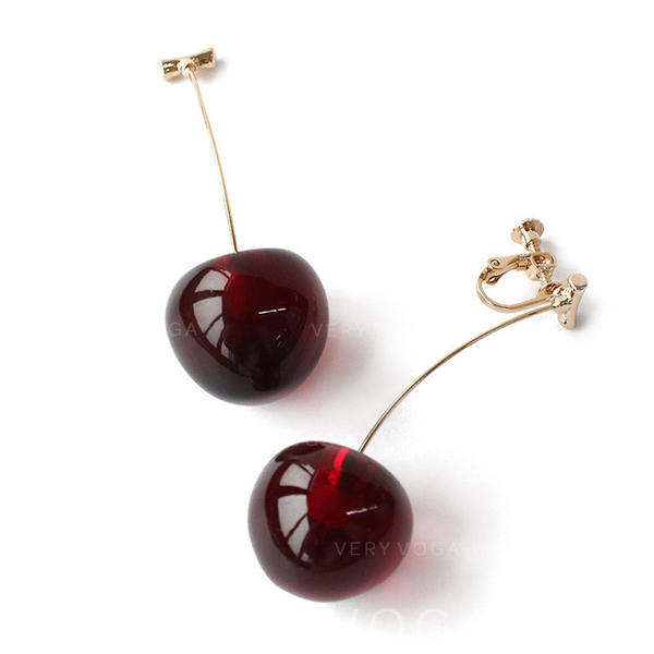 Lovely Brass Resin Women's Earrings
