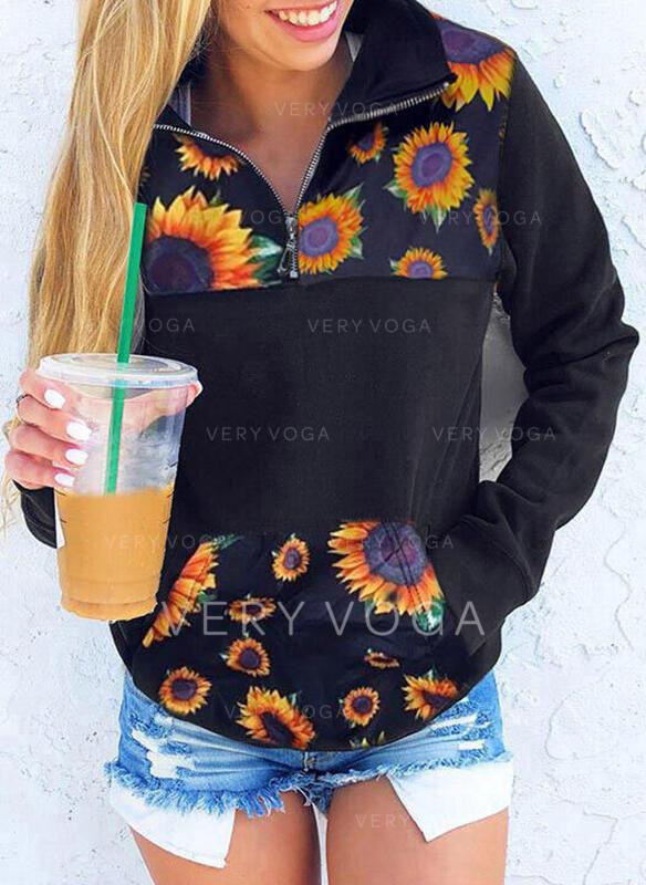 Sunflower Print Lapel Lange ærmer Sweatshirts