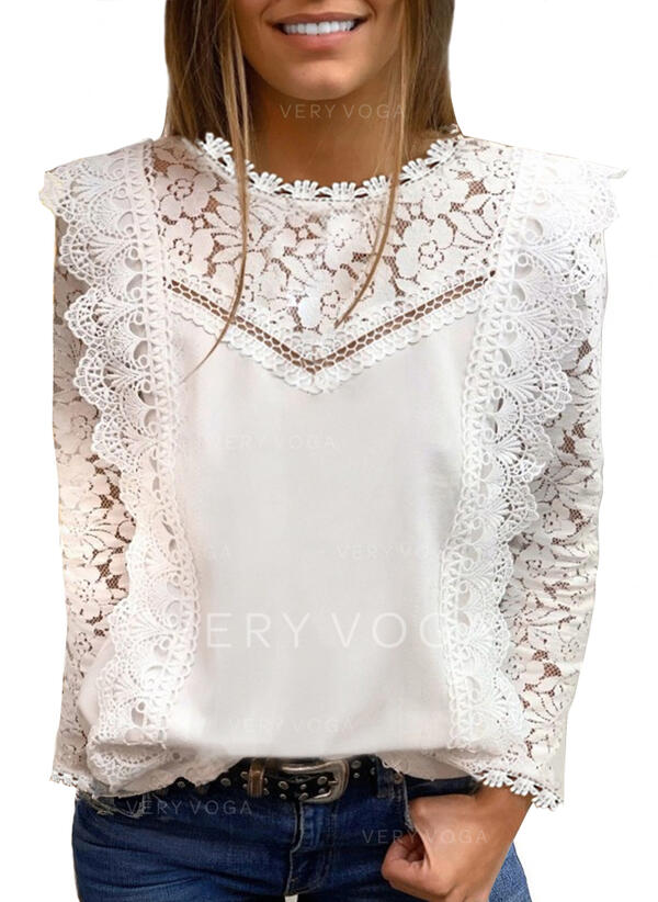 Solid Lace Round Neck Long Sleeves Casual Elegant Blouses