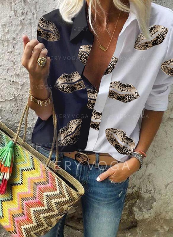 Nadruk Blok Kolorów Klapa Długie rękawy Casual Bluski koszulowe
