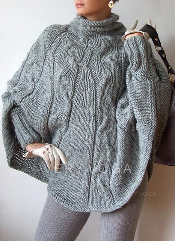 Einfarbig Zopfmuster Grobstrick Rollkragen Pullover