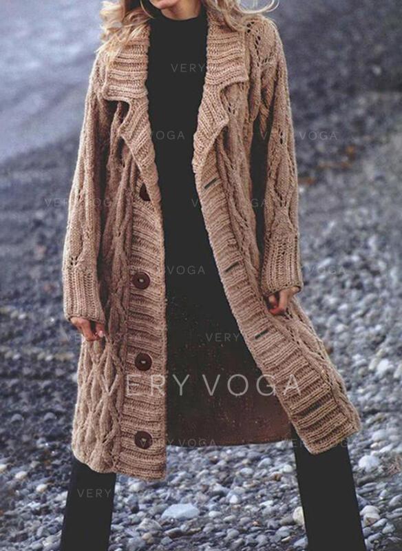 Solido Cavo Knit Risvolto Casual Lungo Cardigan