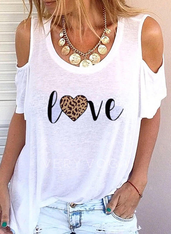 Leopard Cold Shoulder Short Sleeves Casual Blouses