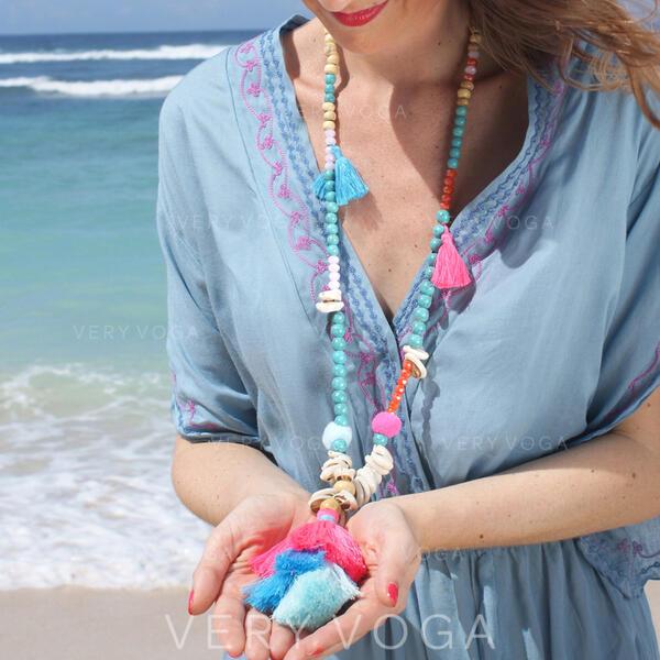 Mais quente Fantasia Liga Perline com Borlas Brincos Jóias De Praia