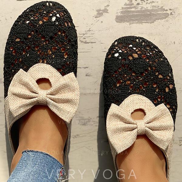 Donna Panno Senza tacco Sandalo Ciabatte con Bowknot Cava-out scarpe