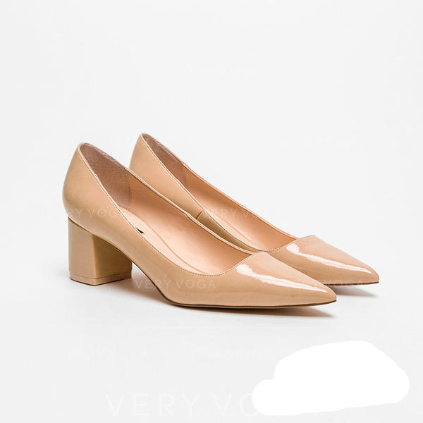 Women's Patent Leather Chunky Heel Pumps shoes