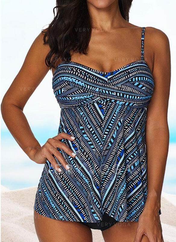 Print Strap Plus Size Tankinis Swimsuits