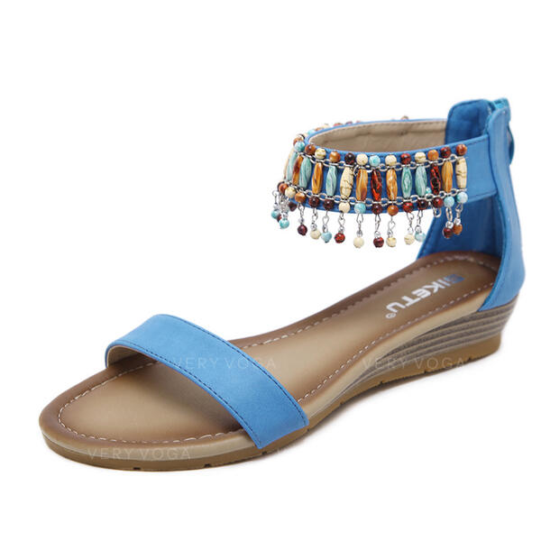 Women's PU Wedge Heel Sandals Peep Toe With Tassel shoes